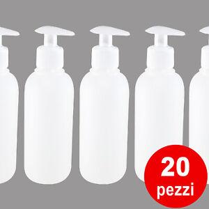Dispenser pompa bottiglia vuota plastica per sapone ecc.. 250 ml 20 PEZZI