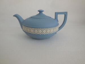 Wedgwood Blue Jasperware Miniature Teapot