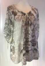One World Cream & Taupe Poets Blouse Sheer Tunic Top 1X Drawstring Neck