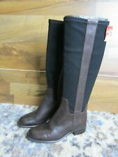 Nine West knee high boot 5.5 leather dark brown with black stretch material NEW