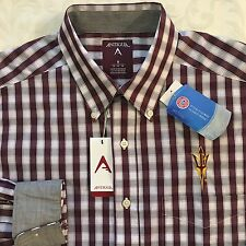 ASU Sundevils Maroon Gray Checked L/S Shirt M Medium NWT Mens Flip Cuffs NEW