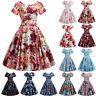 Women Vintage Short Sleeve Swing Dress Floral Hepburn Pinup Evening Party Belt