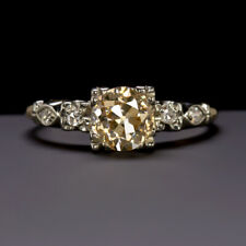 1.11c OLD EUROPEAN CUT DIAMOND ENGAGEMENT RING CHAMPAGNE VINTAGE ANTIQUE 1 CARAT