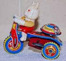 CELLULOID RABBIT TIN  WIND-UP TRICYCLE STRAIGHT HANDLE BAR VERSION Made In Japan