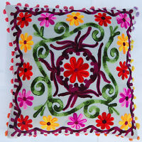 "16x16"" Indian Cotton Pillow Cases Handmade Suzani Embroidery Cushion Cover IFC17"