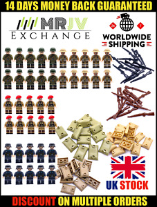 Military WW2 Army Soldiers Weapons British US Sand Bags Guns Mini figures WWII