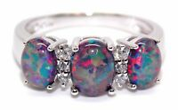 Sterling Silver Black Fire Opal 2.45ct Trilogy Ring With White Topaz (925)