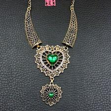 Green Rhinestone Cute Love Heart Betsey Johnson Choker Necklace