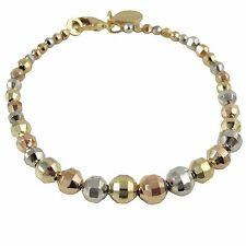 "Tri Color Gold-Tone Silvertone Rose Faceted Balls 7"" Bracelet"