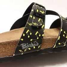 NEW Birkenstock Birki's Salina Birko Flor Sandals Music Black Neon 38 US 7.5-8