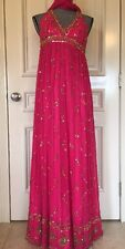 Cache Evening Dress Gown Size 4 Color Pink Silk Gold Sequins & Scarf