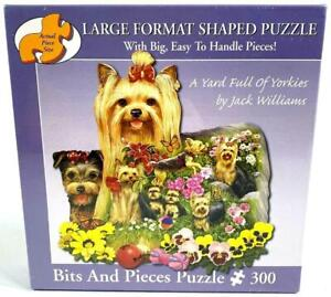 750 PIECE SHAPED JIGSAW PUZZLE A YARD FULL OF YORKIES COMPLETE GOOD CONDITION