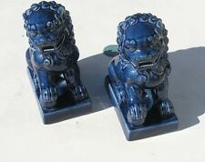 2 Vintage Chinese Ceramics Blue Glazed Foo Dogs Lions Foodogs Foolions 7+ ""