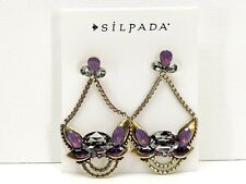 Silpada Orchid Ambience Earrings Brass Swarovski Crystals Posts New!