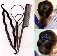 High Hair Twist Styling Clip Stick Bun Maker Braid Tool Hair Accessories 4Pcs
