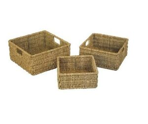 Set Of 3 Natural Nested Seagrass Wicker Square Desk Storage Baskets With Handle