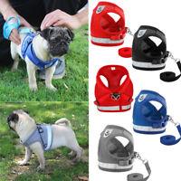 Hot! UK Dog Mesh Harness Pet Cat Harness Leash Set Walk Collar Safety Strap Vest