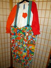 Multi Colored oversize Clown Costume~handmade with wig One size fits adults