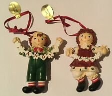 Vintage Raggedy Ann & Andy Holding Garlands Ornaments By Danbury Mint w/ Tags