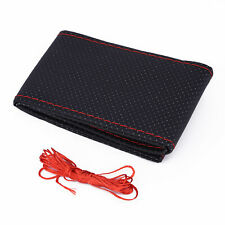Breathable Steering Wheel Cover Kits Durable Red Thread Leather Car Anti-slip