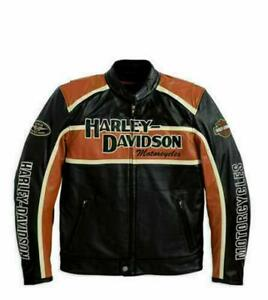 Men's Classic Cruiser leather jacket Harley Davidson Orange Strips Riding Jacket