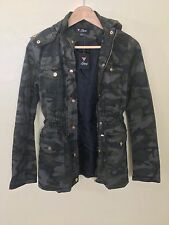 NWT Guess Military Green Camouflage  Print Women Army Style Hood Jacket Size S/P