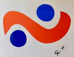 """ALEXANDER CALDER """"SKY BIRD"""" 1974 Original Lithograph Braniff Airlines Art"""