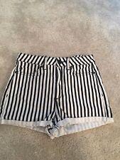 Topshop Black And White Stripe Denim Hotpants W28