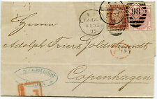 GB to DENMARK 1875 LATE FEE 1d RED L1 + 3d Plate 16...GOLDSCHMIDT HANDSTAMP