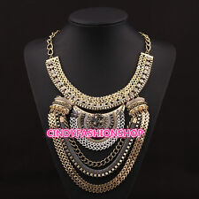 Hot Fashion Women Boho Style Exaggerated Multievel Chain Statement Neklaces