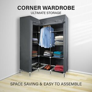 L Shape Portable Wardrobe Clothes Storage Cabinet w/ Shelves Organizer Fabric AU