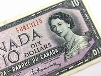 1954 Canada 10 Dollar Ten Dollar FV Circulated Beattie Rasminsky Banknote T818