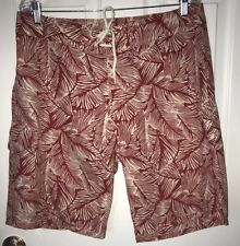 4739ad192 POLO Ralph Lauren Red Floral Sz 34 Board Shorts Cotton Nylon Trunks Palm  Fronds