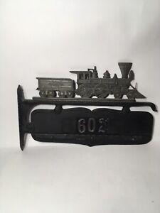 1950s Cast Metal Steam Train Address Plaque House Sign
