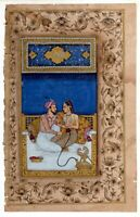 Mughal Miniature Painting Emperor And Empress Love Scene With Enjoying Hookah