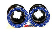 "DWT G2 Black Blue Rear Beadlock Rims Wheels 9"" 4/110 Suzuki LTR450 LTZ400 Z400"