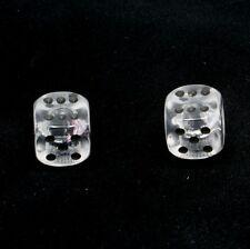 1 Pair of  Clear Translucent Dice Dust Caps for BMX - 80's Retro Valve Caps