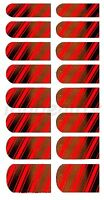 NAIL ART STICKER  DECAL DESIGN FOR NAILS 16 WRAPS COLOUR SILVER WITH RED STRIPES