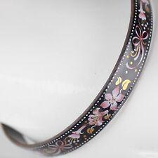 Vintage Emaille Armreif ∅ 6,2 Blumen Schmuck 70er schwarz, gold, rosa Armring 16