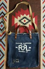 Double RL RRL Ralph Lauren Leather Denim Helmet Tote Shoulder Bag
