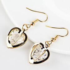 Gold Plated Women's Luxury Hollow Love Heart Zircon Stud Earrings Jewelry pb