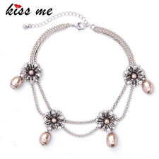 KISS ME Crystal Flowers Simulated Pearls Choker Necklace xl02120
