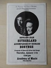 1976 - Academy Of Music Theatre Playbill - Joan Sutherland and Bonynge