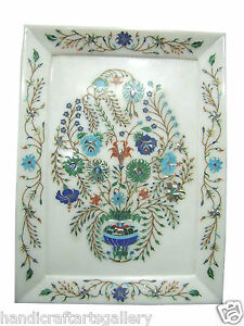 """10""""x15"""" Marble Tray Plate Semi Precious Marquetry Mosaic Inlay Occasion Gifts"""