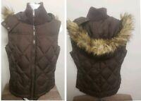 Esprit womens size 8 LARGE Down vest BROWN FASHION faux fur hood CLEAN!
