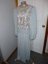 Womens Vtg 70's-80's Silver Blue Gray Sequin 2 Pc Long Formal Mob Skirt Set Sz L