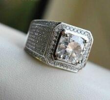 1.50Ct Moissanite & Simulated Diamond Men's Engagement Ring 14k White Gold Fn