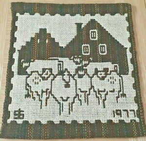 Vintage double weave wall hanging with cows from Sweden
