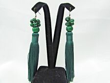 Green Gemstone Beads Cluster With Green Tassel Hook Fashion Earring US SELLER
