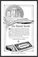 """1920 Nabisco Wafers Bar & Box art """"For Your Sweet Tooth"""" vintage print ad"""